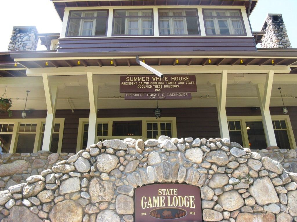 a close view of the front of the historic state game lodge