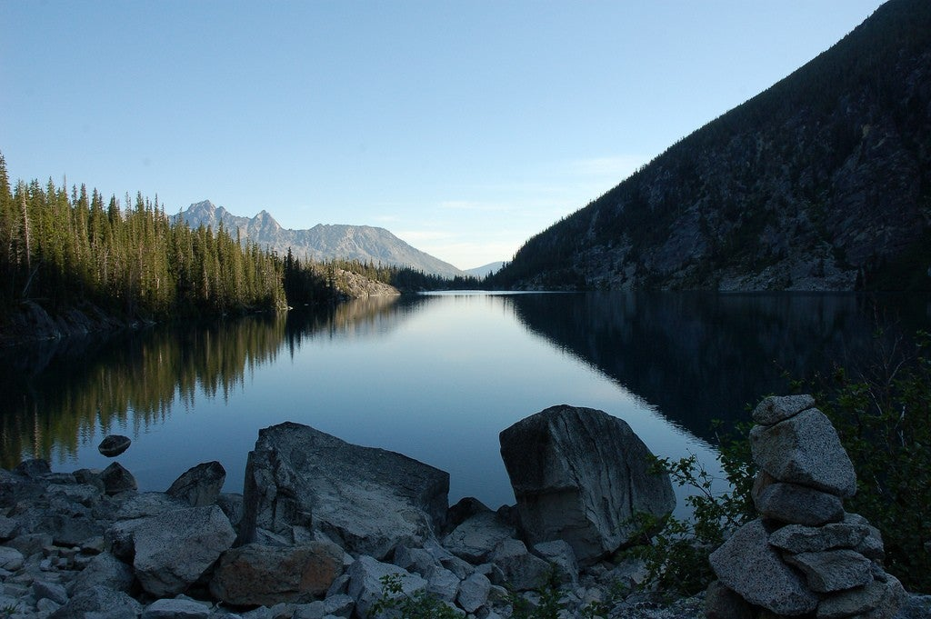 Camping on a lake in The Enchantments