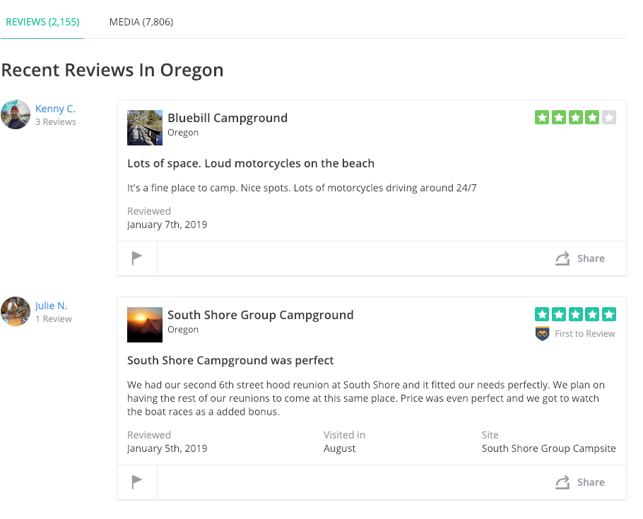 most recent oregon campground reviews on the dyrt