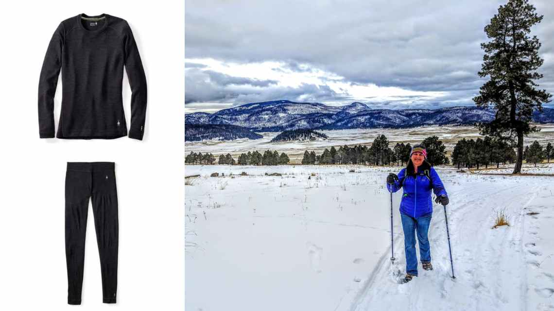 (left) charcoal gray wool base layers (right) woman in blue coat hiking through snowy winter landscape