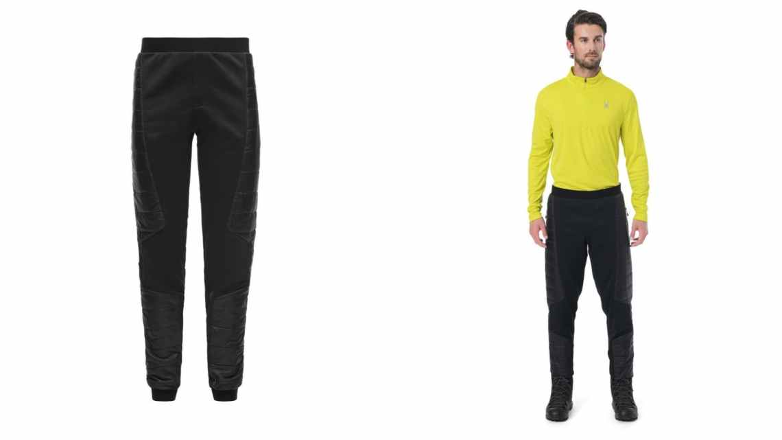 (left) black glissade pants (right) man in black glissade pants wearing bright yellow performance shirt