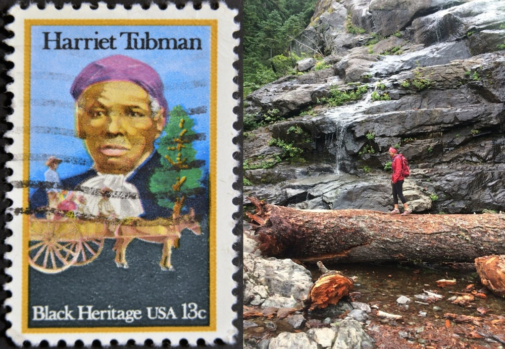 Left: Postage stamp of Harriet Tubman Right: Woman walking on fallen tree next to waterfall near Hejamada Campground in New York