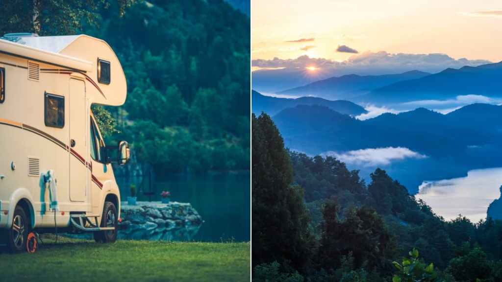 (left) small rv park on the edge of mountain lake (right) sunrise over the great smoky mountains