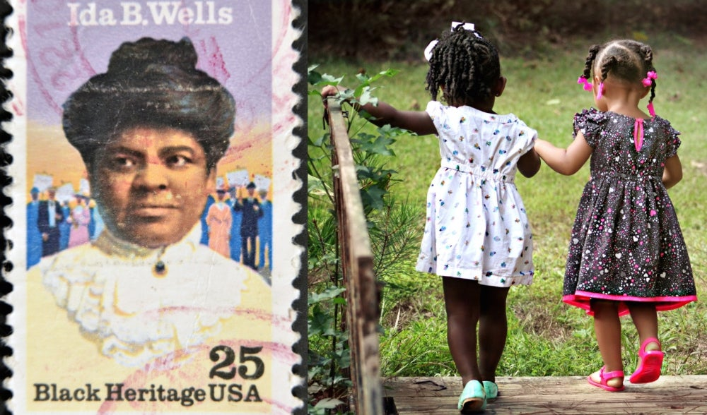 Left: Postage stame of Ida B. Wells Right: Two young wearing polka dot dresses girls holding hands walking across a bridge.