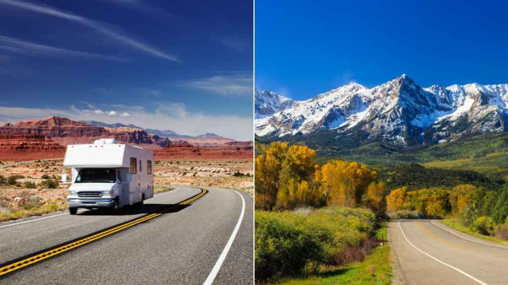 (left) Traveling by motorhome through the red rock desert of American Southwest (right) snow covered mountains towering over changing fall leaves of the valley