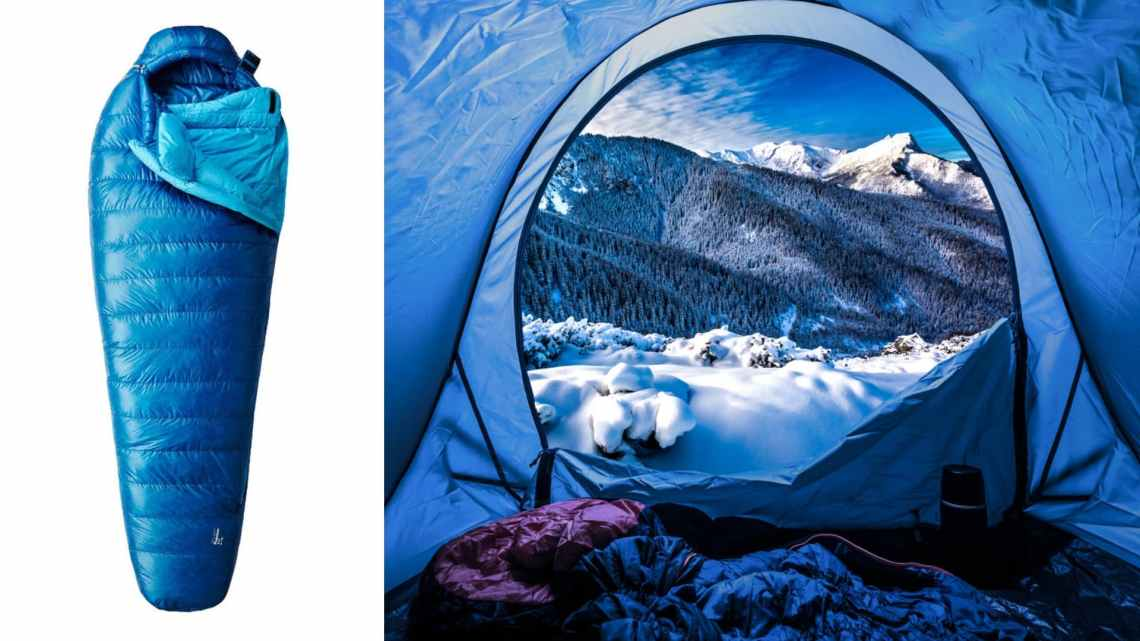 (left) blue down sleeping bag (right) blue tent filled with winter camping gear and open to snowy mountain landscape