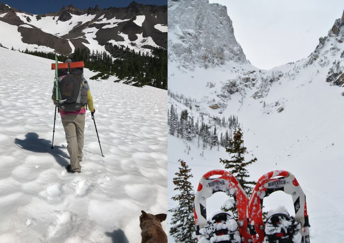 left: a hiker uses poles to walk up a snowfield towards a volcanic mountain on a sunny day. Left: pair of red snowshoes in foreground overlooking snowy mountain valley