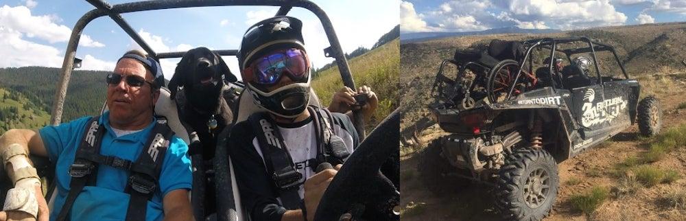 Left: Three men facing camera while riding in ATV. Right: ATV on red dirt road in Utah