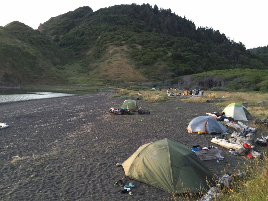 Tents on the beach at Sinkyone Wilderness State Park.