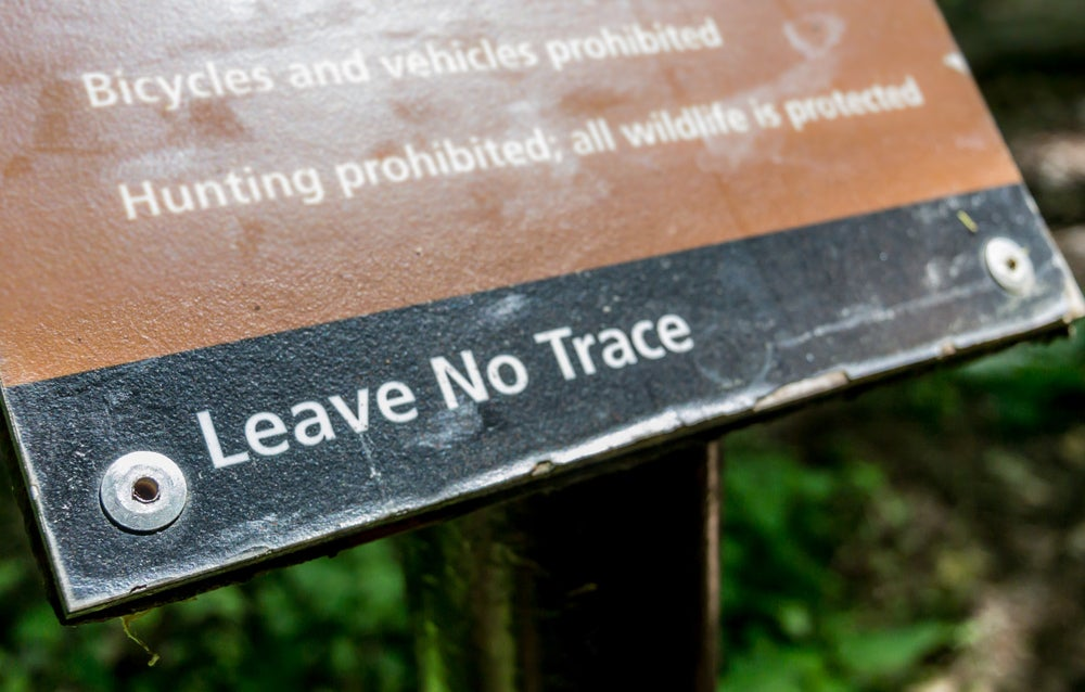 a sign detailing the rules of the environmental nonprofit leave no trace