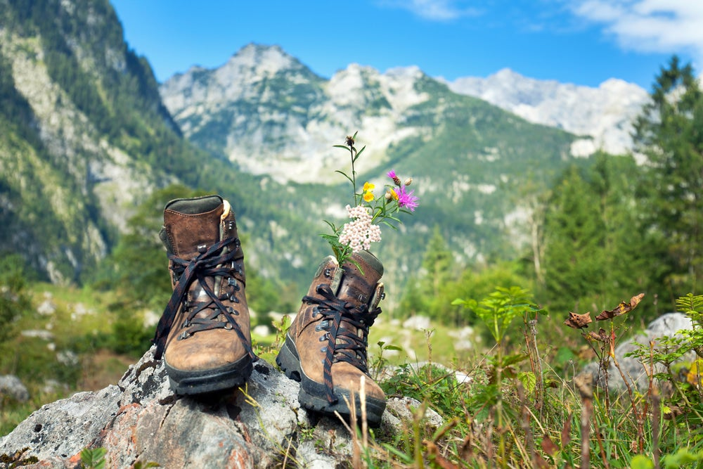 Hiking boots with flowers in them on a rock with mountains in the background