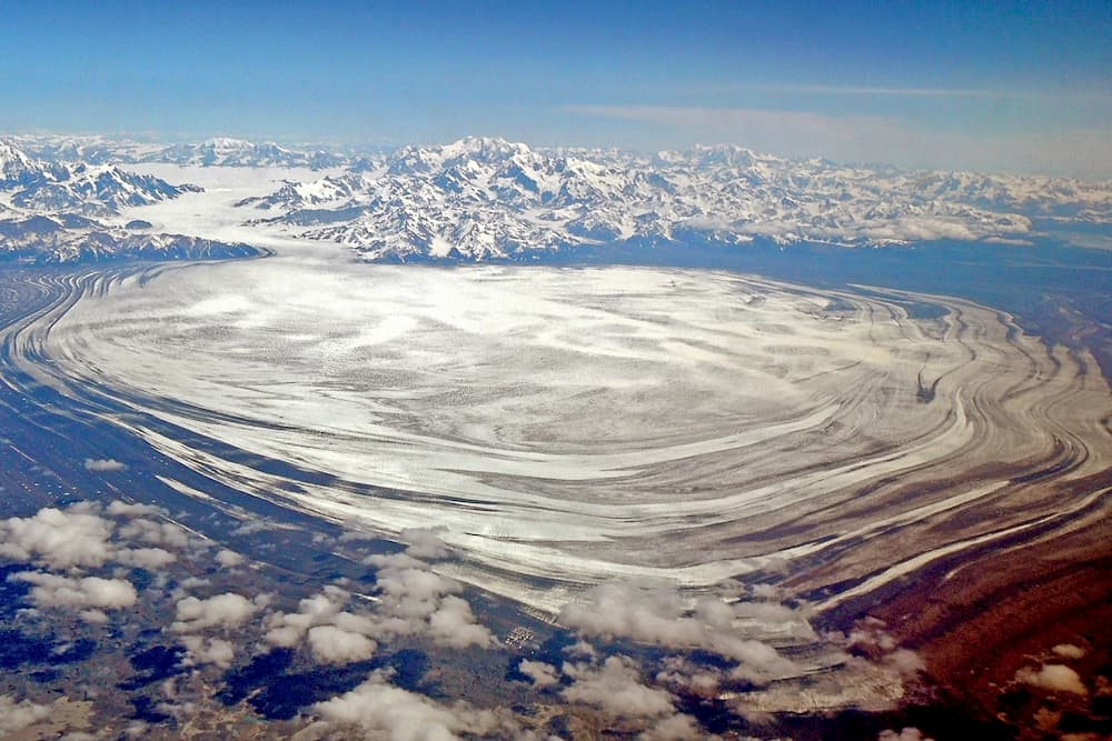 aerial view of the Malaspina Glacier in Wrangell St Elias national park