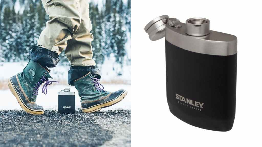 (left) person in snow boots steps over flask with snowy landscape in background, (right) product shot of a stanley flask
