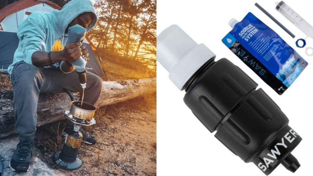 (left) man sitting on log in front of tent using squeezable water filter to fill cooking pot (right) product shot of sawyer system