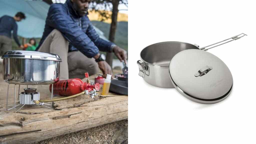 (left) man cooking on log with stove and pot in the foreground, (right) product shot of silver camping pot