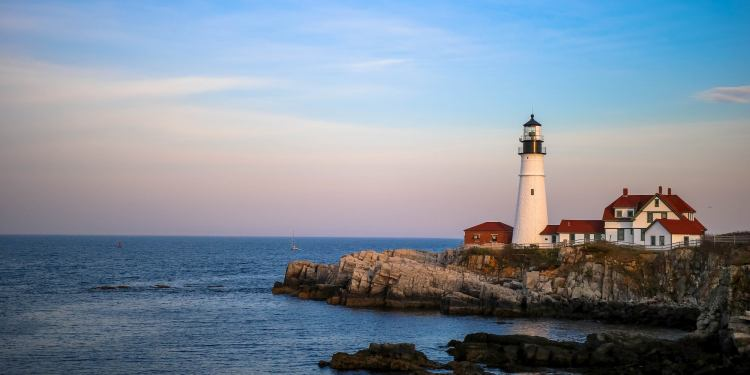 Lighthouse on the coast of Portland, ME.
