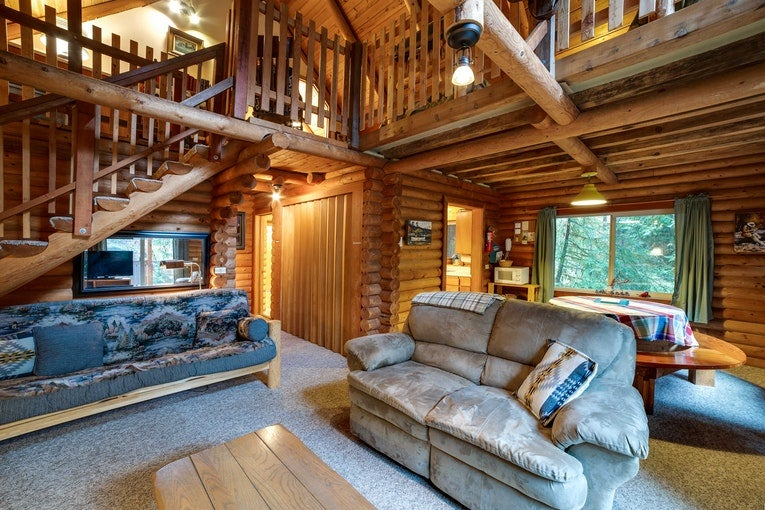 a two-story cabin on Mt. Baker in Washington State