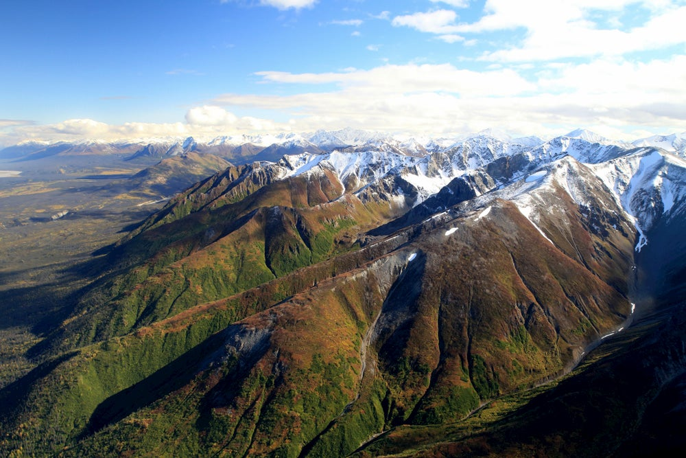 Aerial image of the mountains in Wrangell-St. Elias National Park.
