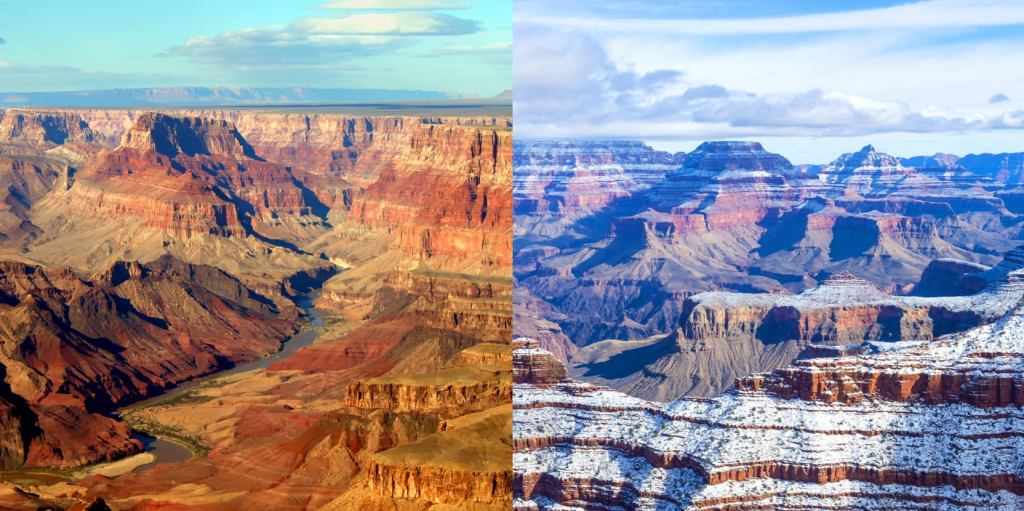 a side by side image of the grand canyon in the summer and the winter