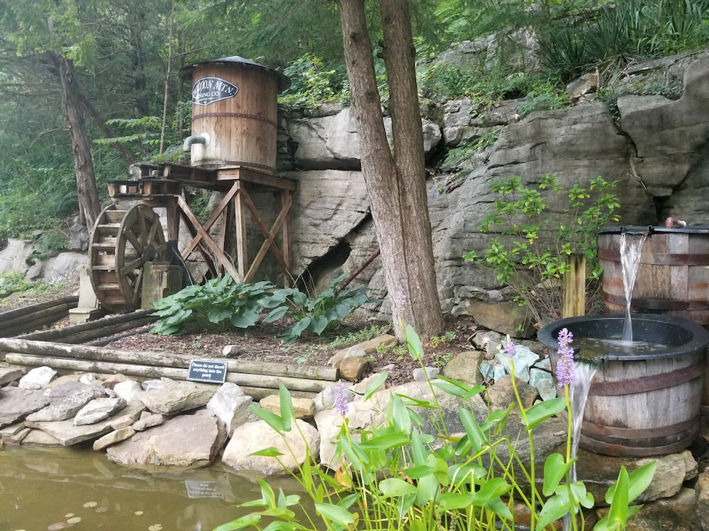Wooden barrels along creek with plants and flowers in foreground