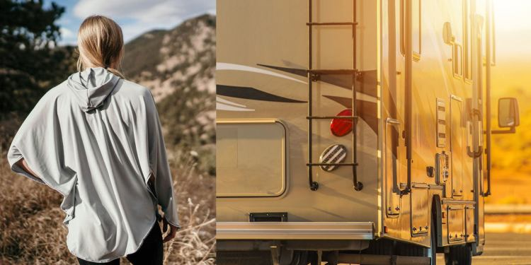 (left) view of woman from behind as she poses in uv protective clothing on the trail (right) back view of large RV at sunset