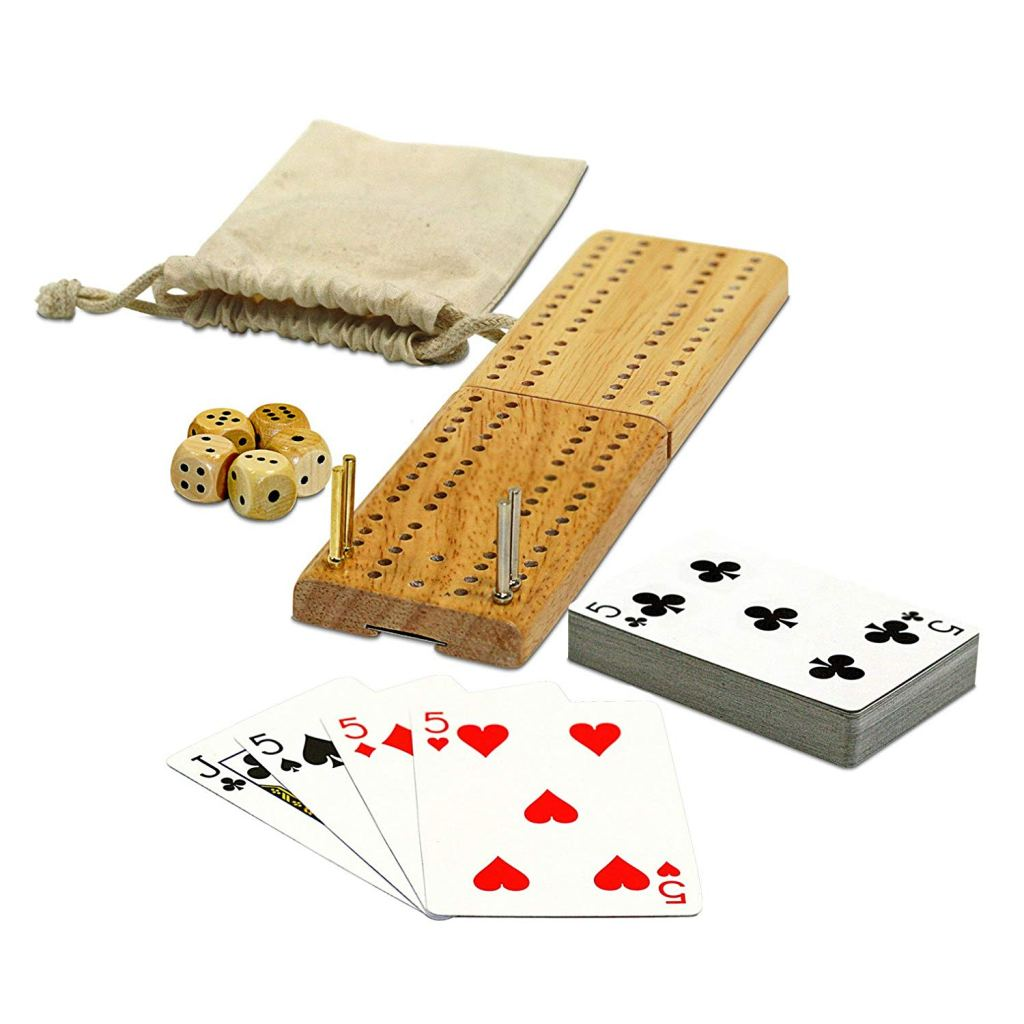 a cribbage board in a travel case with playing cards