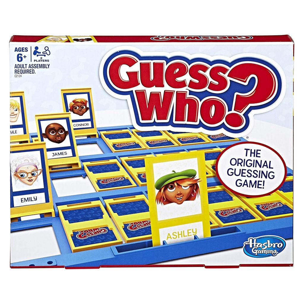 the box cover of the guess who board game
