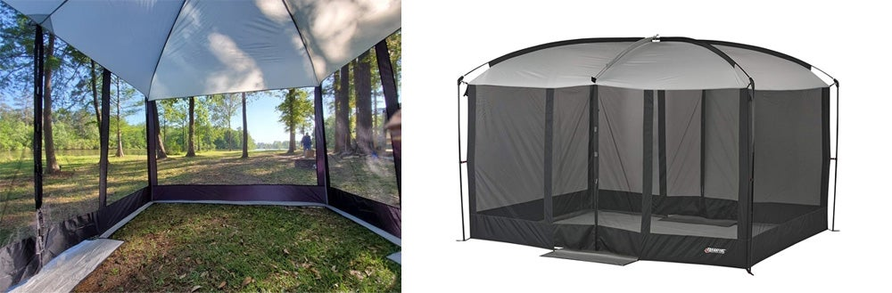Left: Tent in backyard with trees in background. Right: Wenzel tent