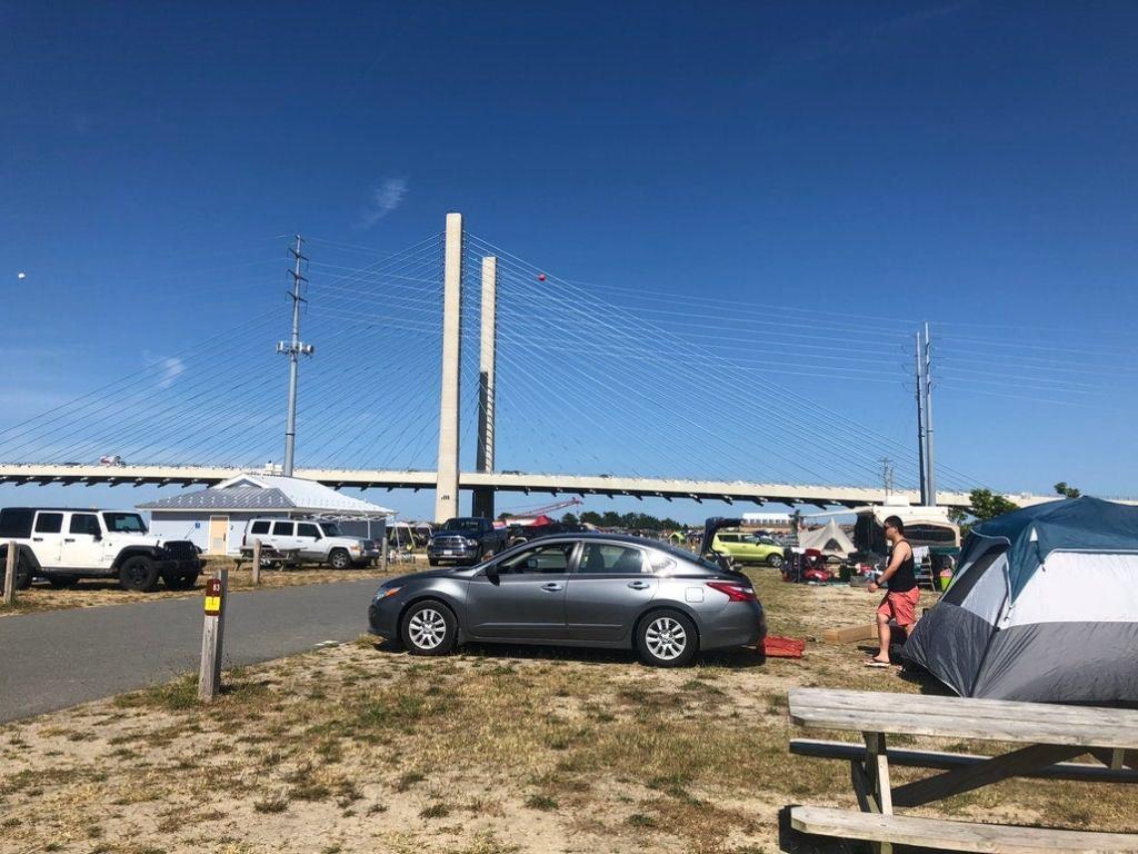 a row of campsites near a bridge in delaware