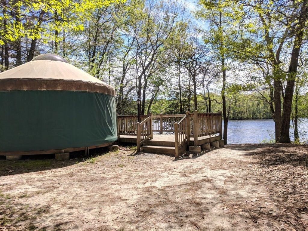 a yurt campsite in delaware near a lake