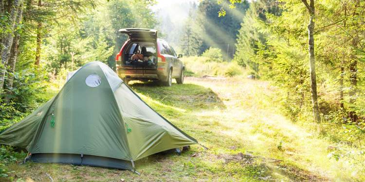minimalist car camping with tent