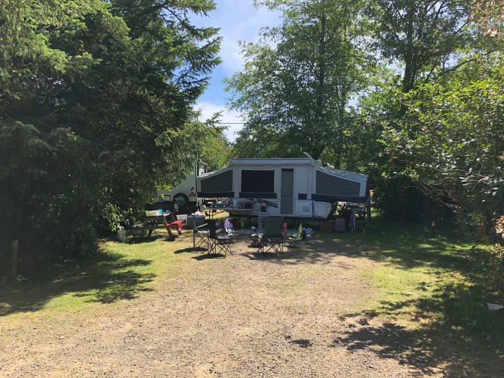 a pop up trailer in a shaded campsite in oregon