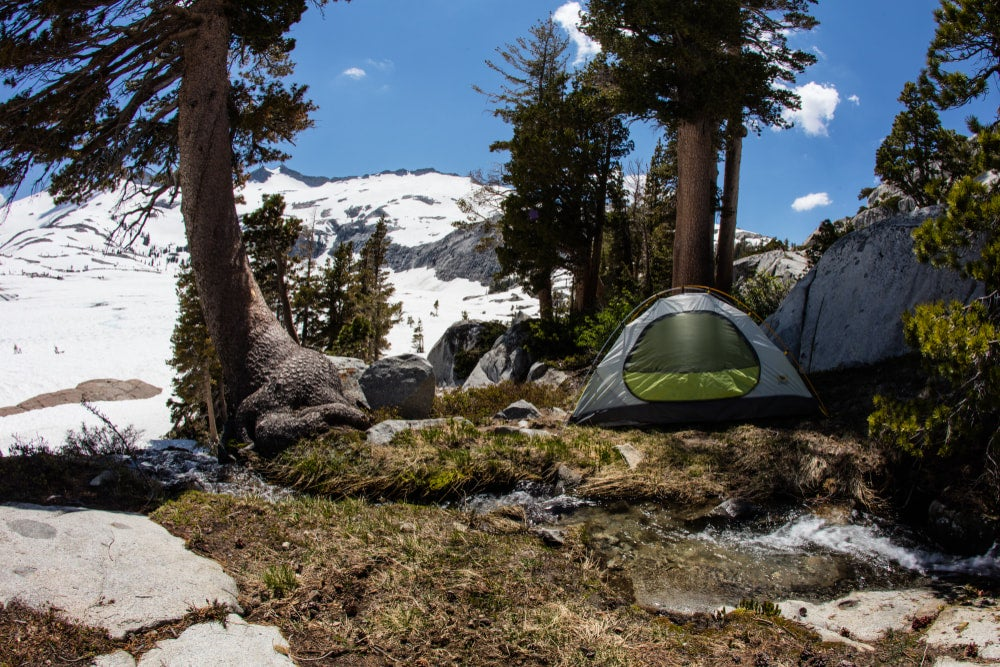 a tent on a mountain campsite in california