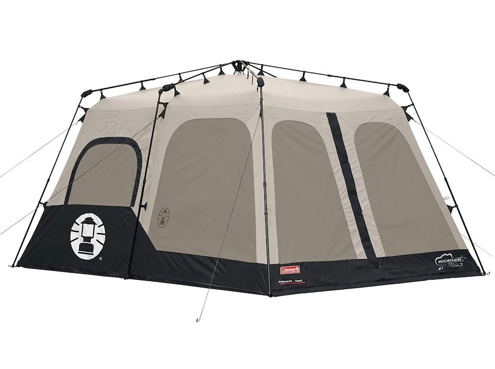 Grey and black tent