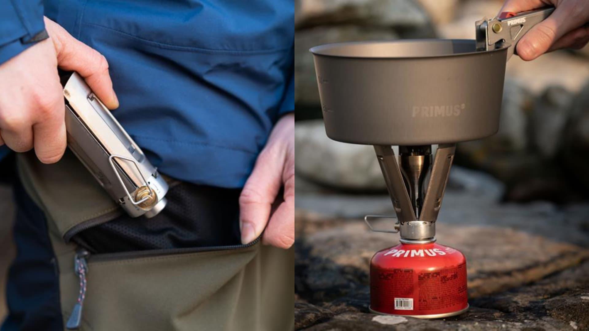 split image on left hand placing new primus firestick stove in pocket on the right cooking pot on top of primus firestick stove