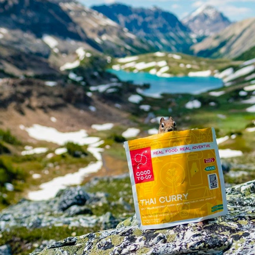 a squirrel on a bag of good to go meals in alaska