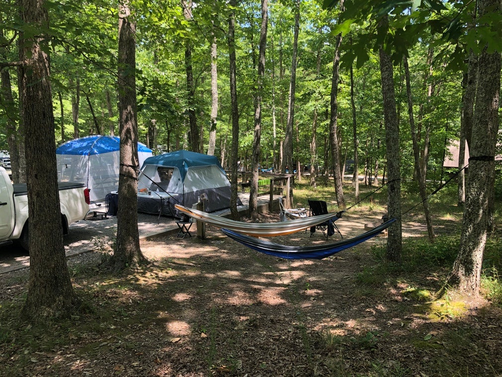 Tents and hammocks set up at Cloudland Canyon State Park campsite, photo from a camper on The Dyrt