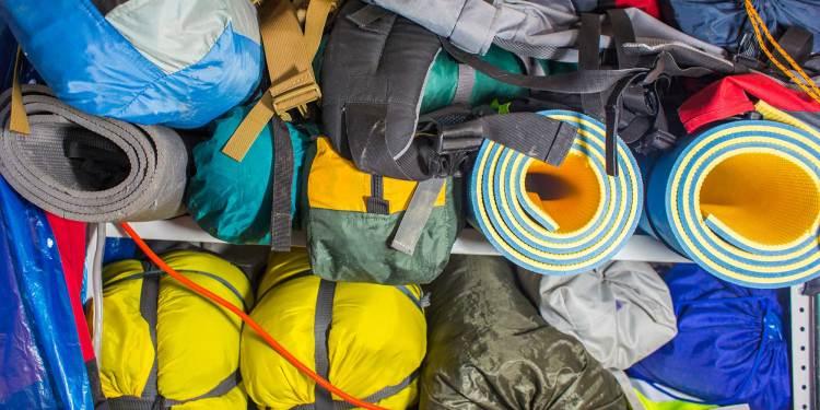 storage closet full of camping gear