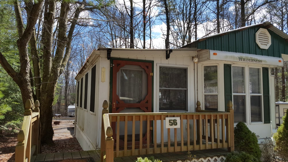 Cabin in the woods of campground