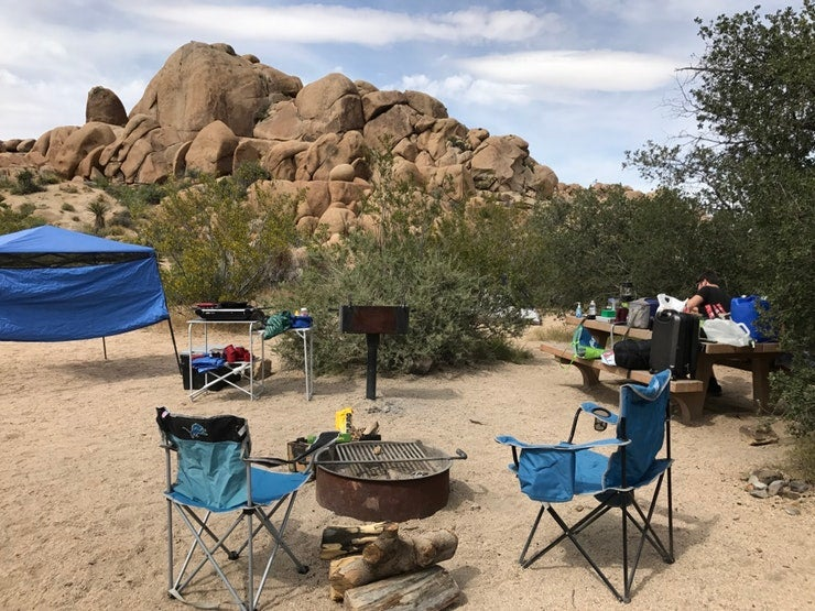 Gear set up at a site in Jumbo Rocks campground, photo from a camper on The Dyrt