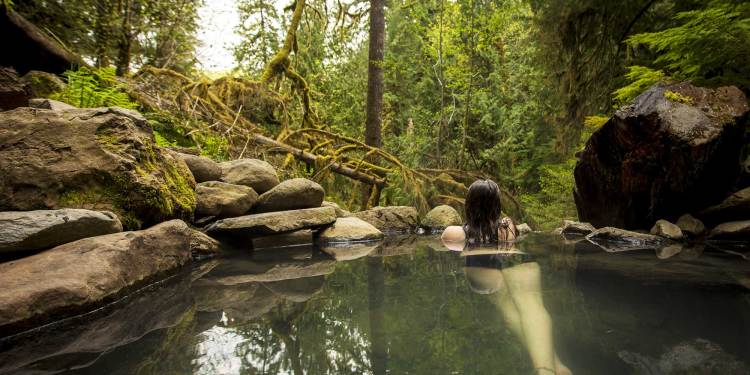 a woman in a hot spring in oregon