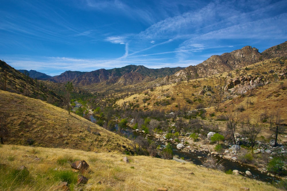 the valley of the kern river in california on a clear day