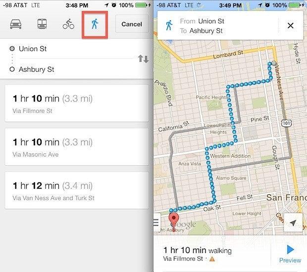 Walking direction of Google Maps.