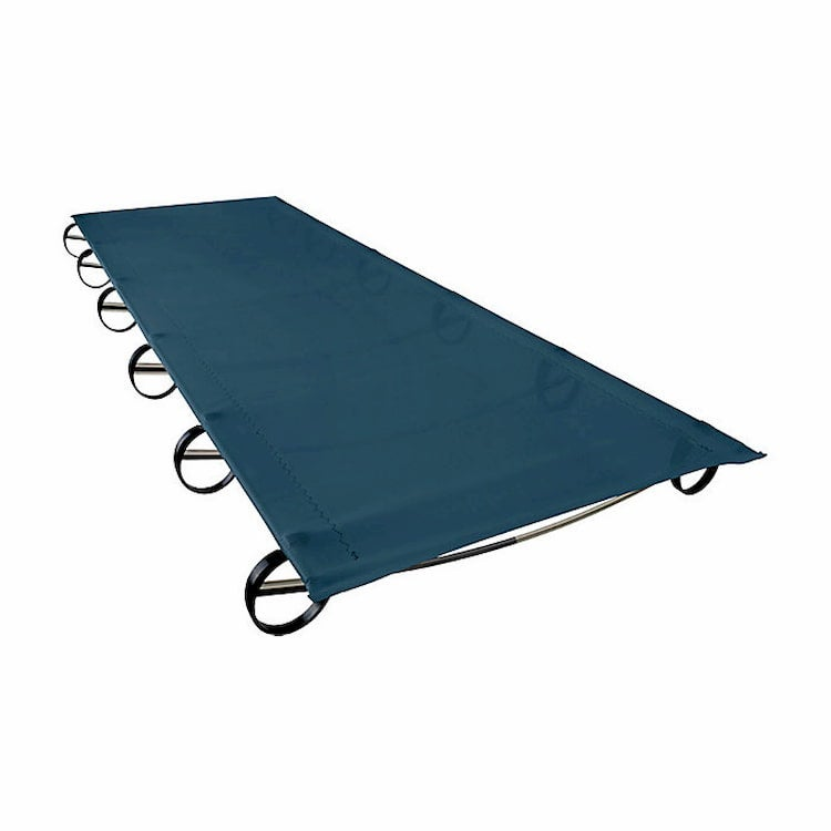 a low lying camping cot on stilts