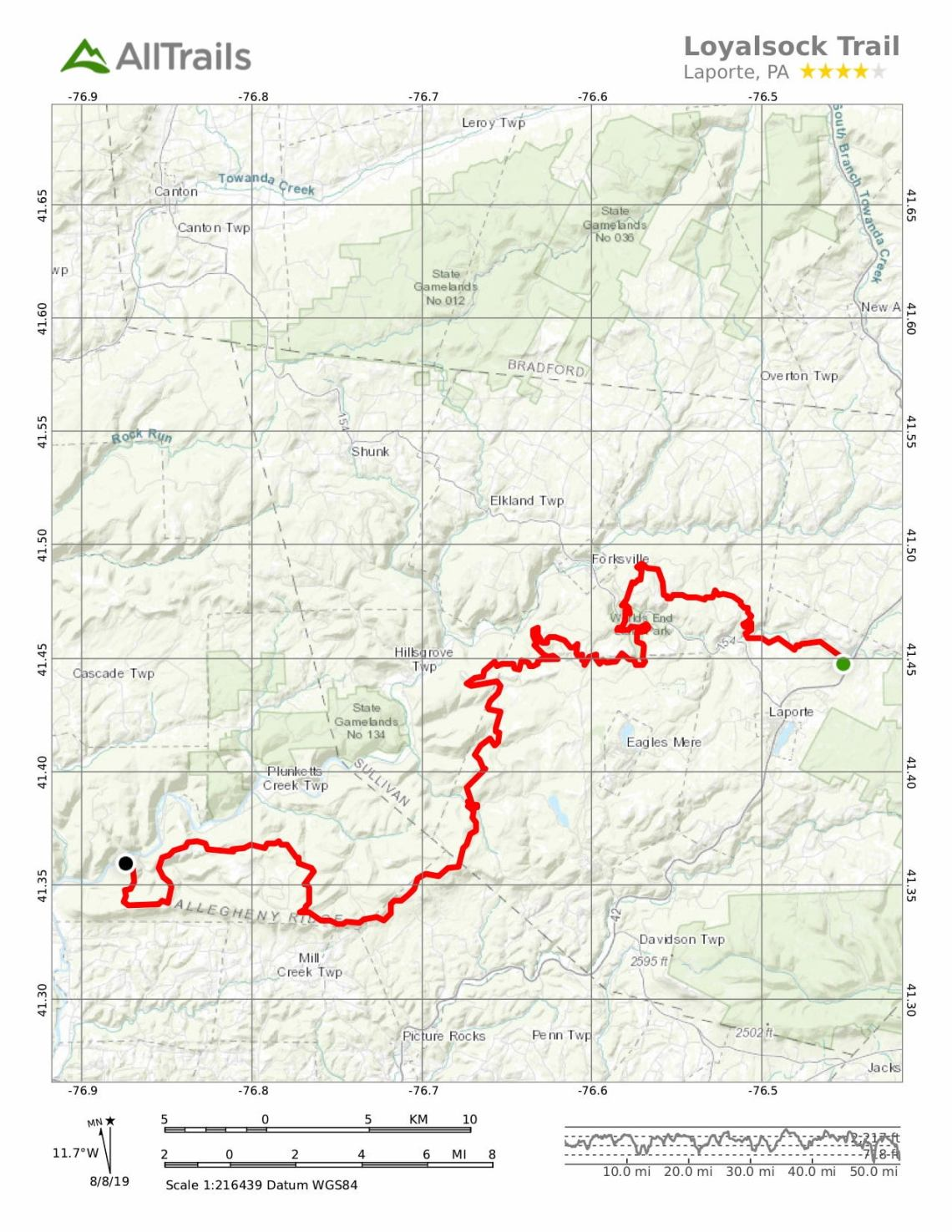 Map of the Loyalsock Trail from All Trails.