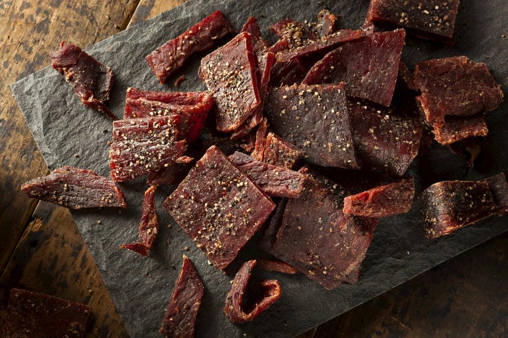 Beef jerky on stone slab