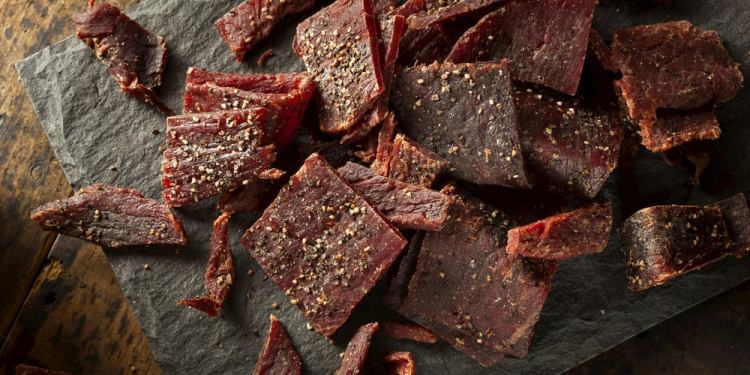 Beef jerky on stone slab