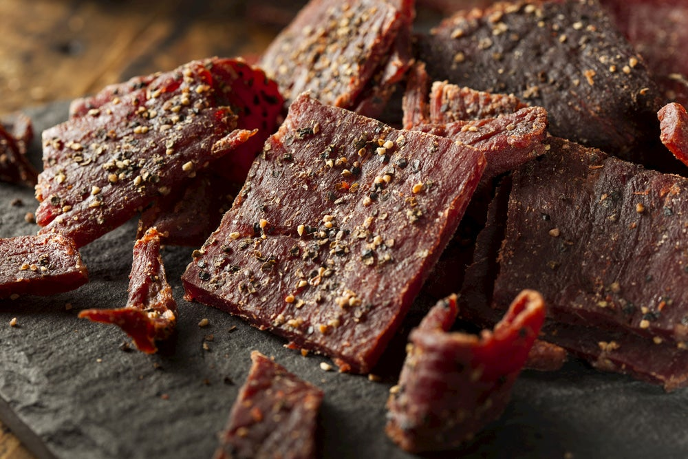 Peppered dehydrated jerky.