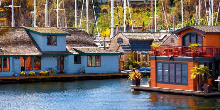 Series of colorful boats on lake