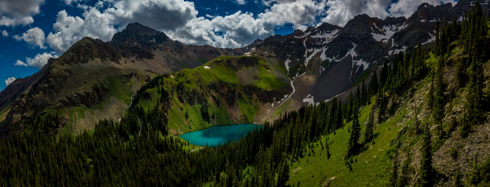 Landscape of mountains surrounding Gilpin Lake.